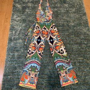 Colorful halter jumpsuit